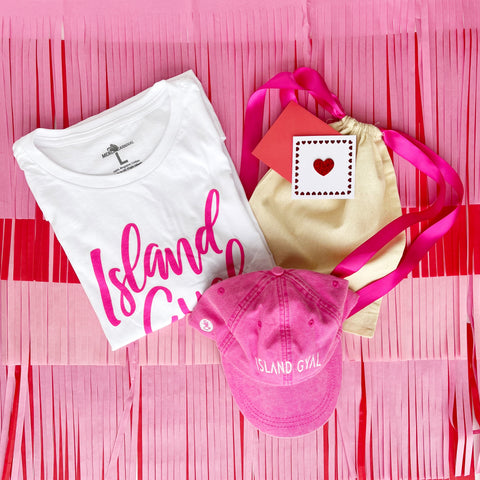 Island Gyal Tshirt and Hat Gift Set - Pink/White