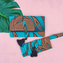 Le Gendre - Teal and White Clutch and Wristlet