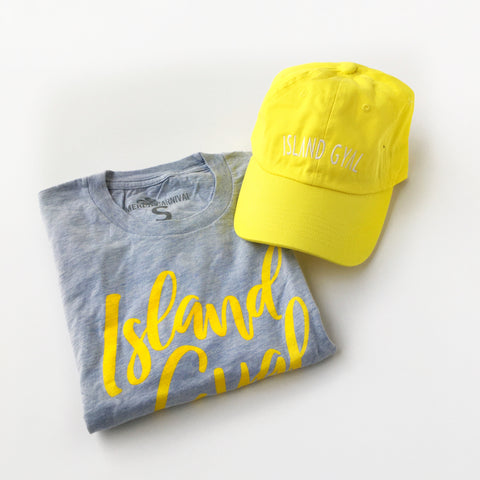 Island Gyal Tshirt and Hat Gift Set - Yellow/Blue