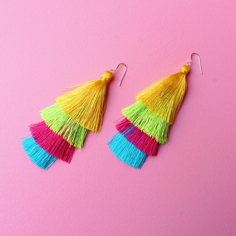 Tiered Silk Tassel Earrings