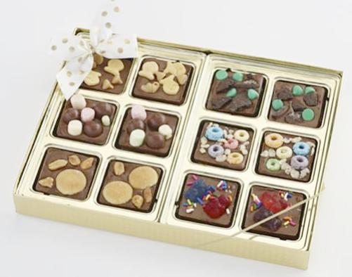 Milk Chocolate Squares with Sweet Toppings