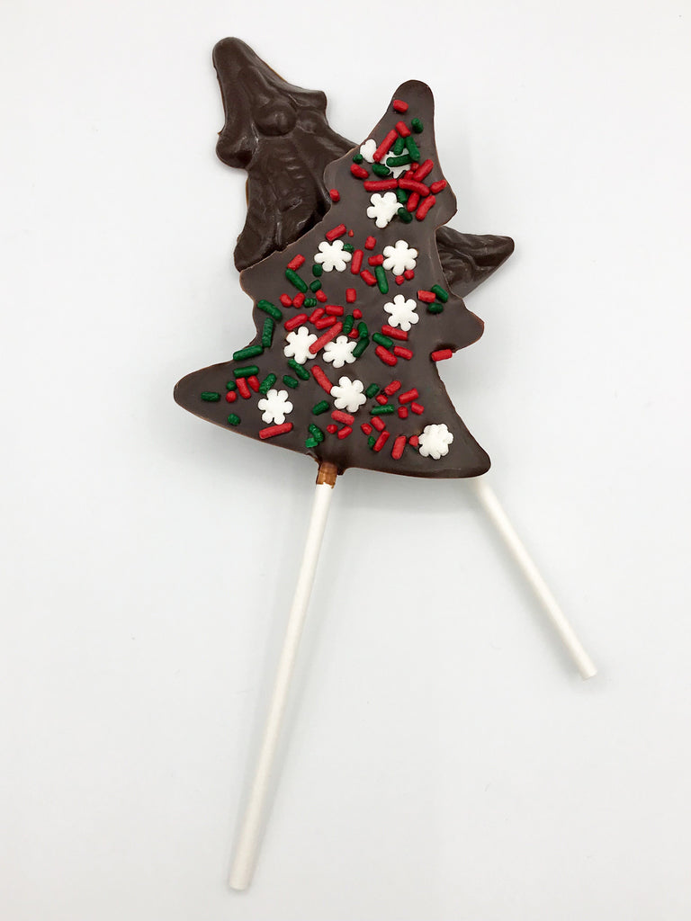 Christmas Tree Chocolate Pops with Snowflake Sprinkles