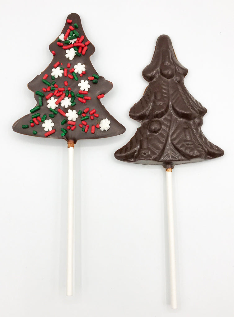 Christmas Tree Chocolate Pop with Snowflake Sprinkles