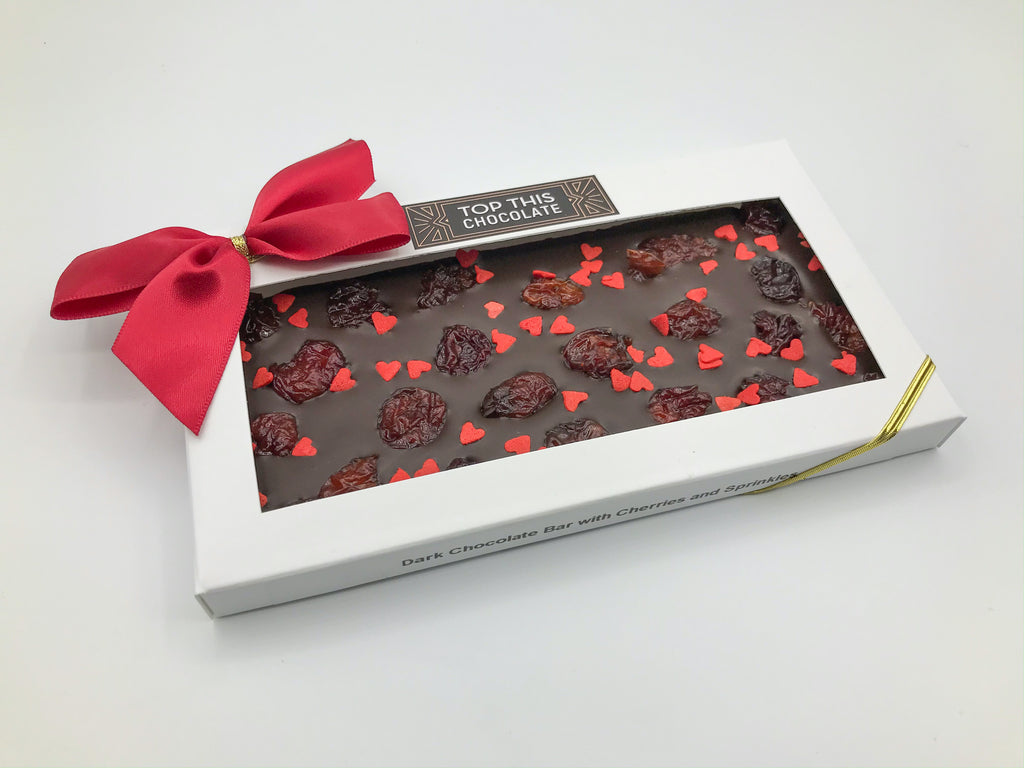 Cherries & Red Heart Sprinkles Chocolate bar with bow