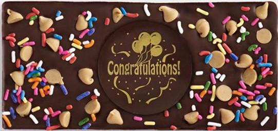 Dark Chocolate Bar with Congratulations Plaque, Rainbow Sprinkles and Cappuccino Chips