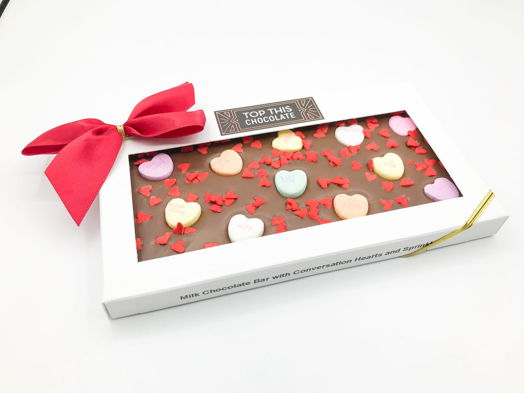Conversation Hearts Chocolate Bar with Red Heart Sprinkles and Bow