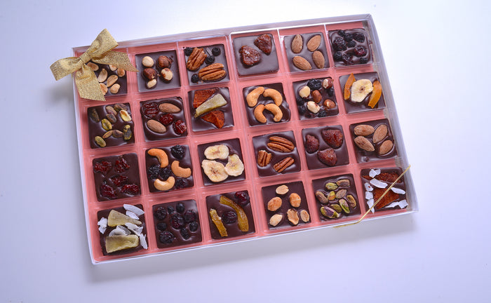 Chocolate Squares with Nut & Dried Fruit Toppings