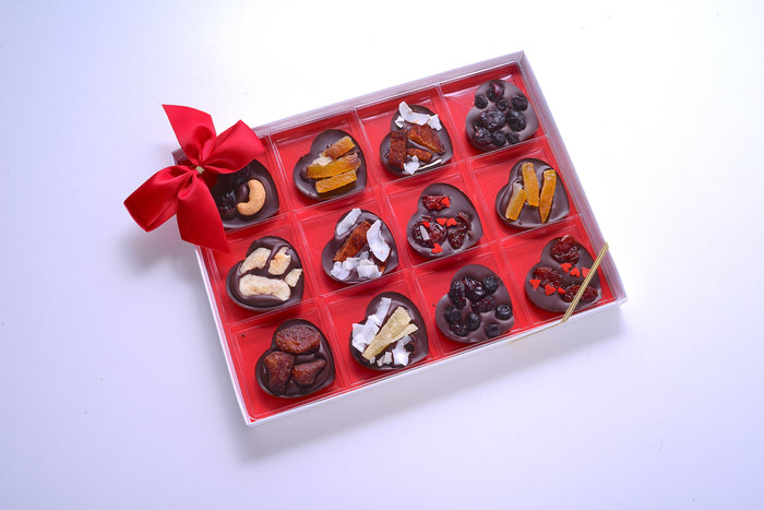 Chocolate Hearts with Assorted Dried Fruit