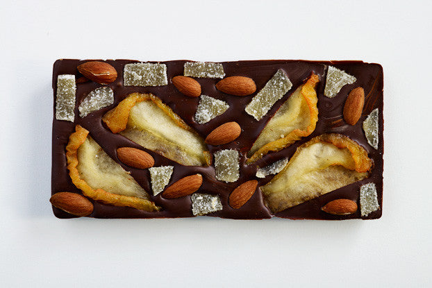 Ginger Almond Pear Dark Chocolate Bar
