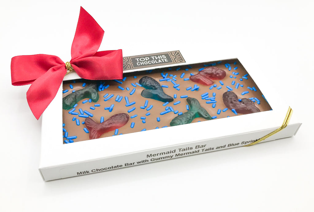 Gummy Mermaid Tail Chocolate Bar in Box with Bow
