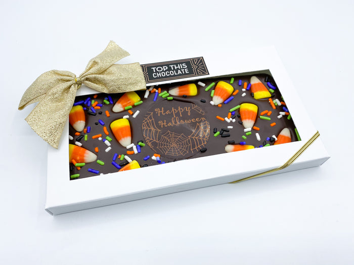 """Happy Halloween"" Candy Corn Chocolate Bar with Bow"