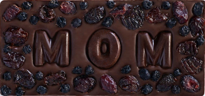 Chocolate Bar with Mom in Chocolate Letters, Cherries, Blueberries and Cranberries