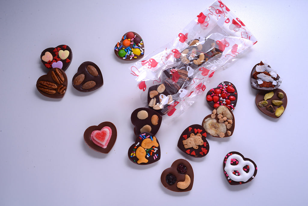 Chocolate Hearts with Various Toppings