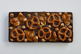 Dark Chocolate Bar with Peanut Brittle, Pretzels and Peanut Butter Chips