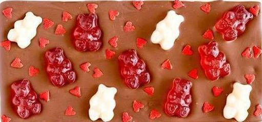 Red and White Valentine's Gummy Bear Chocolate Bar