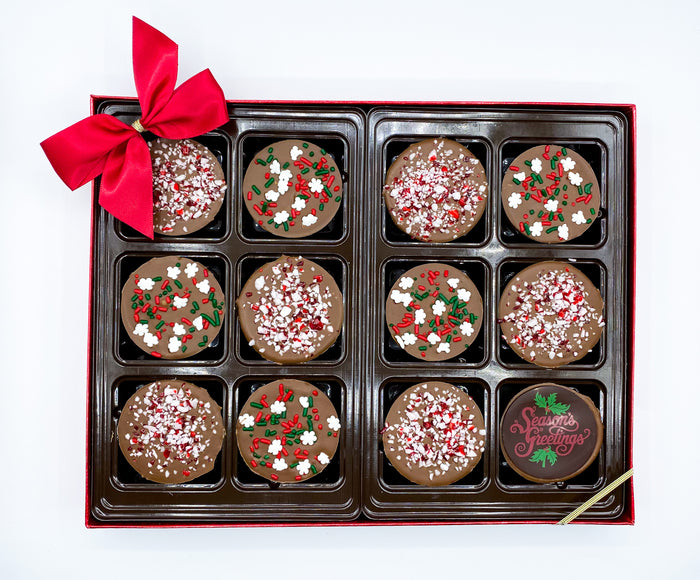 Chocolate Covered Oreos with Peppermint and Holiday Sprinkles