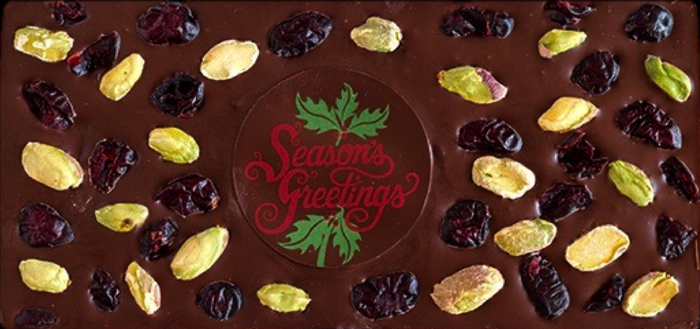 Season's Greetings Pistachio Cranberry Chocolate Bar