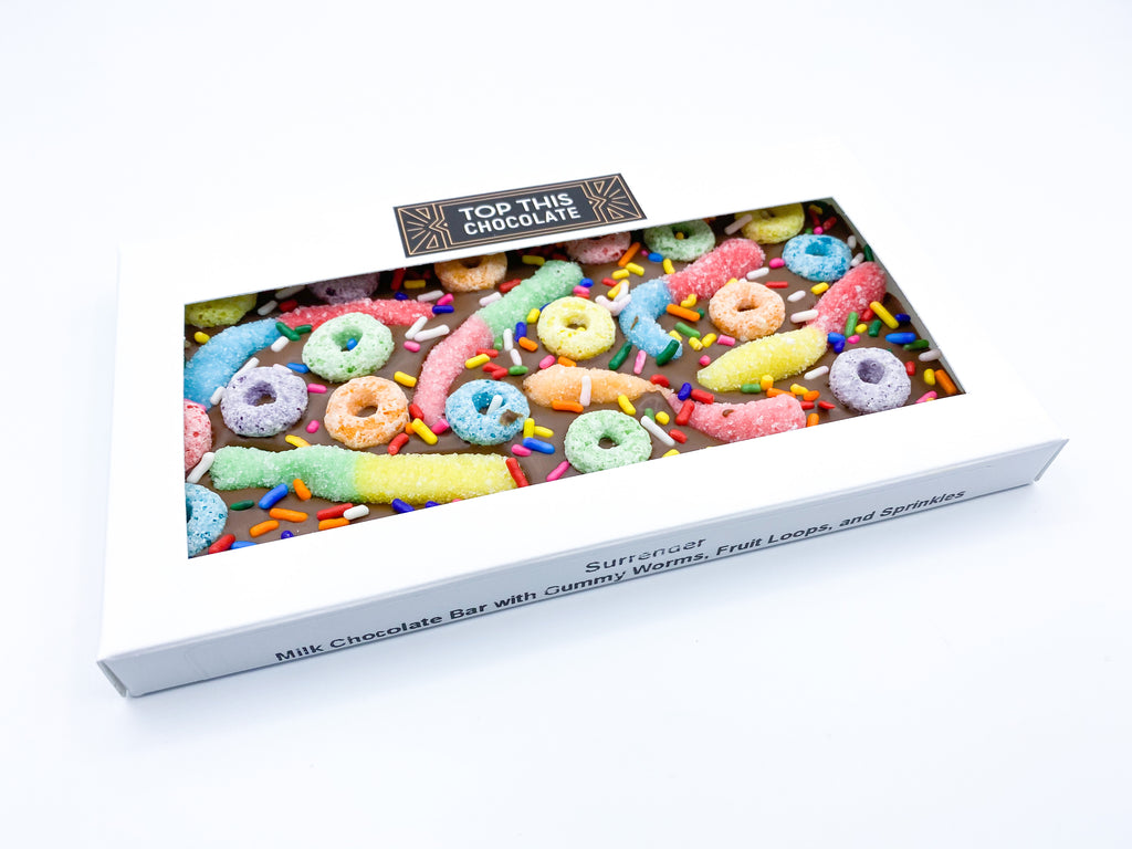 Gummy Worm Froot Loop Sprinkles Chocolate Bar in Box