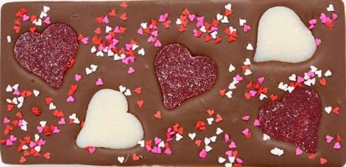 Valentine's Gummy Hearts Milk Chocolate Bar
