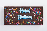 Dark Chocolate Bar the says Happy Birthday with Rainbow Sprinkles