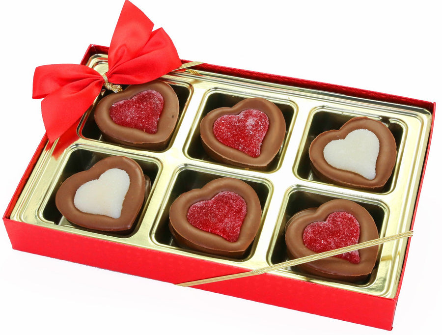 Box of Chocolate Hearts with Gummy Hearts Red Bow