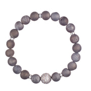 Silver Geode Crystal Bracelet with Swarovski ball