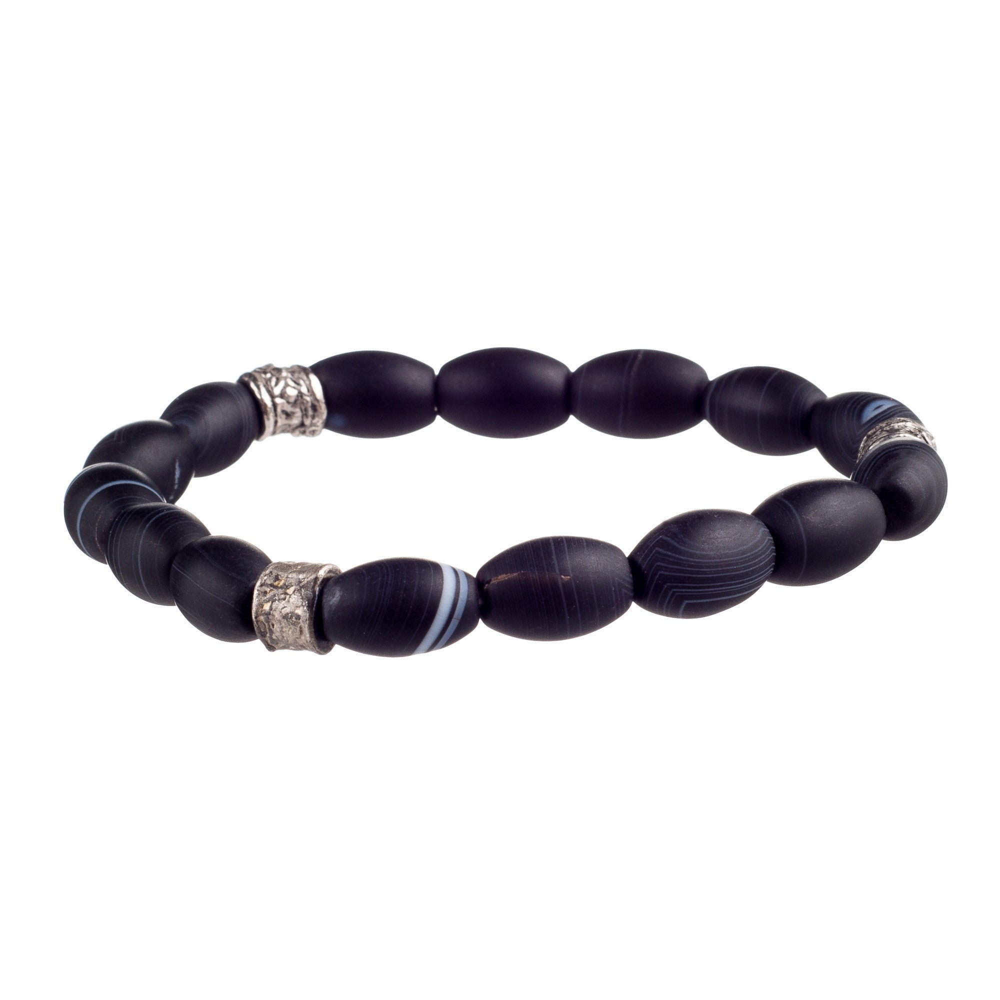 black bracelet frosted product onyx matte psx dumbbell
