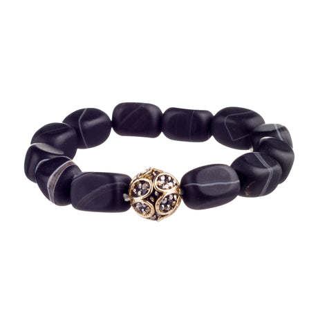 Black Matte Onyx Square Gem Crystal Bracelet with Gold Plated Crystal Ball