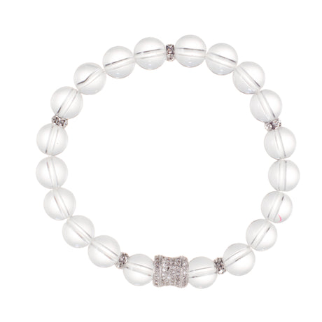 Clear Quartz Crystal Bracelet with Faceted Gemstone and Swarovski Ball