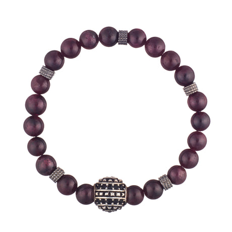 Garnet Crystal Bracelet with Rhodium Ball Accent