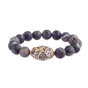 Dark Grey Geode Crystal Bracelet with Gold Plated Crystal Accent
