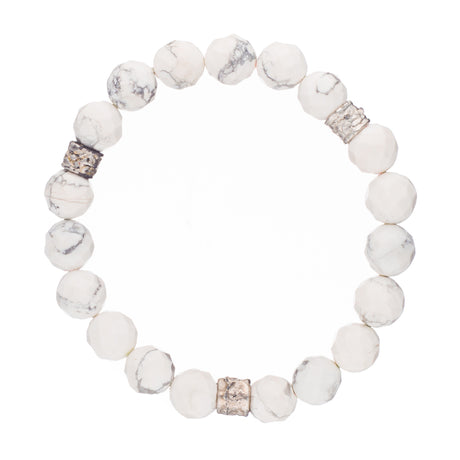 White Geode Crystal Bracelet with Nickel Accents