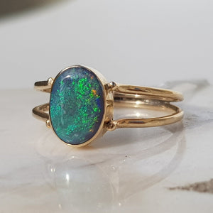 Natural Australian Black Opal with Flashes of Green set in Gold Ring - Size 7.5