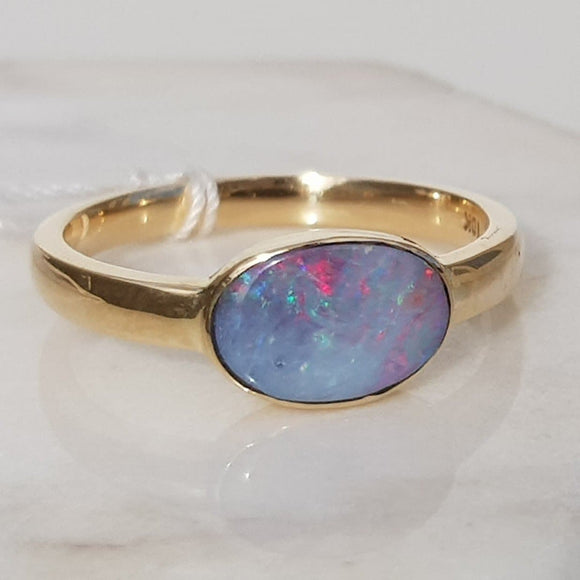 Natural White Opal with Flashes of Pink and Red Gold Ring - Size 8