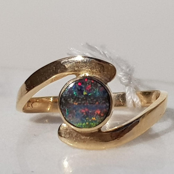 Natural  Solid Australian Opal Gold Ring - Size 5.5
