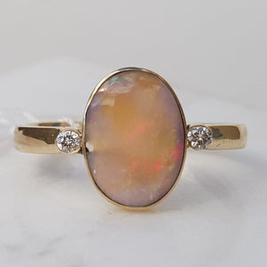 Natural Australian Boulder Opal with Diamond Gold Ring - Size 9.5