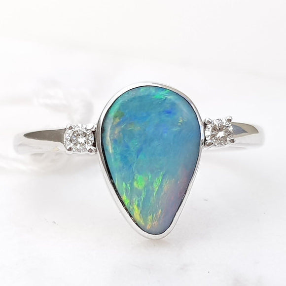 Natural Boulder Opal with Diamonds 18k White Gold Ring - Ring Size 7