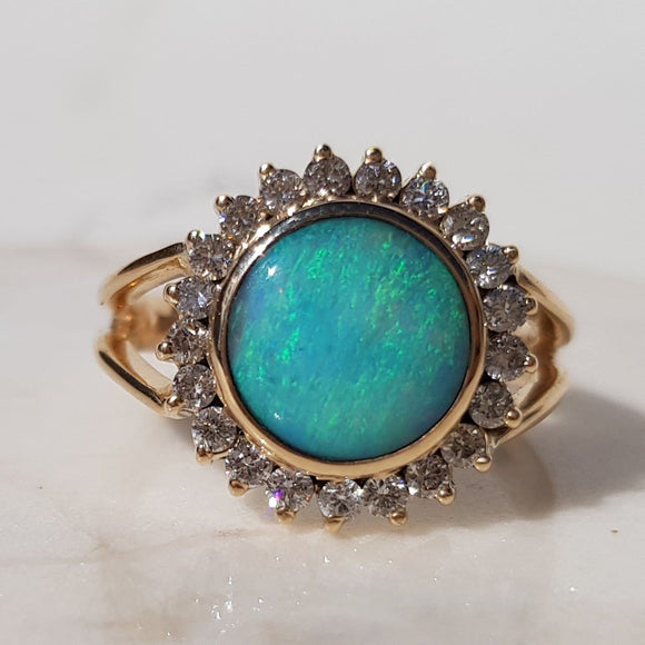 AMAZING.  Blue and Green Queensland Boulder Opal with Diamond Gold Ring. Size 7
