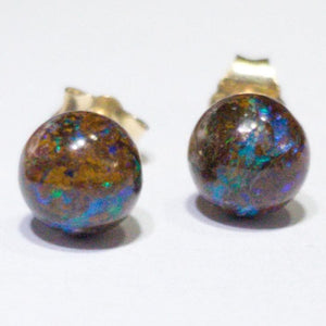 Natural Australian 6mm Boulder Opal Matrix Gold Earring Studs