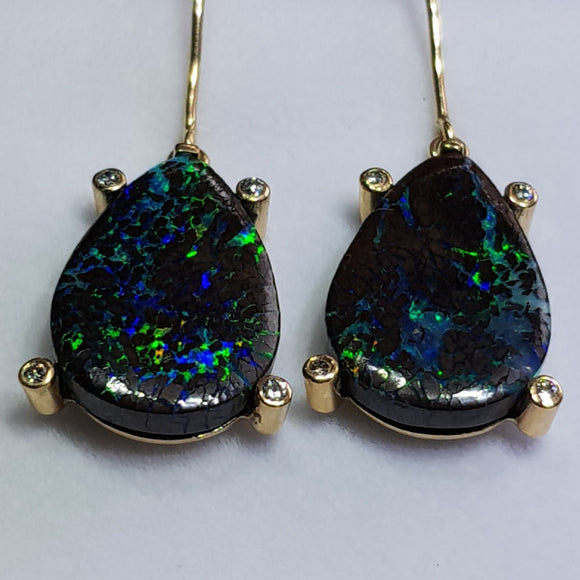 Natural Australian Boulder Opal Matrix and Diamond Gold Earring
