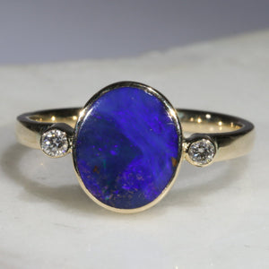 Natural Australian Opal and Diamond Gold Ring  Size 6.25