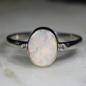 Natural opal white clouds silver ring