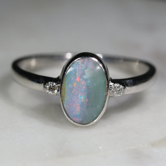 Australian Solid Boulder Opal and Diamond Silver Ring - Size 7.25
