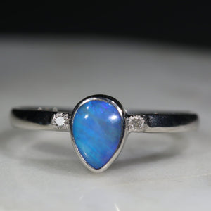 Australian Solid Boulder Opal and Diamond Silver Ring - Size 7.75