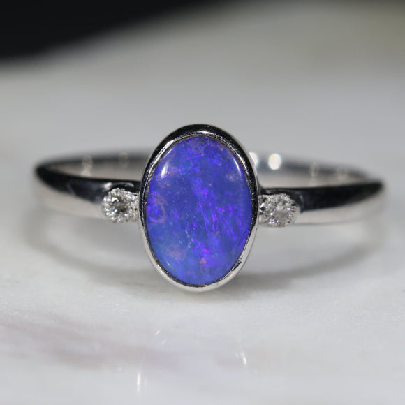 Natural opal soft glow silver ring