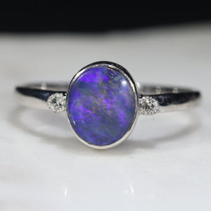 Australian Solid Boulder Opal and Diamond Silver Ring - Size 7