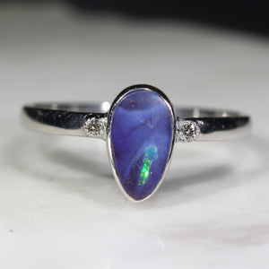 Natural opal blue ocean silver ring