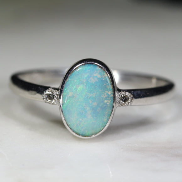 Natural opal soft green silver ring