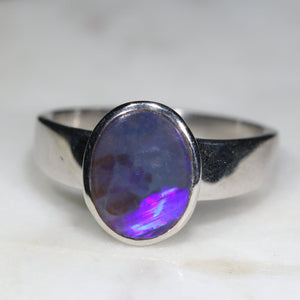 Natural opal witches silver ring