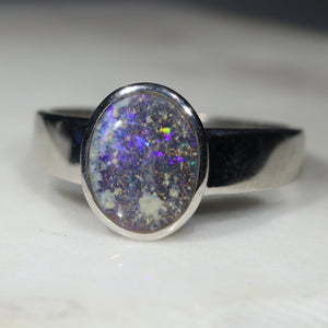 Natural opal strange pattern silver ring